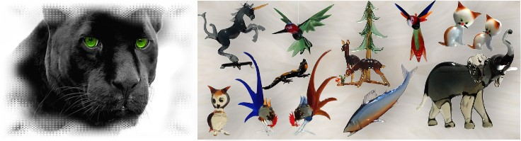 Glass animals, glass birds by  glass blower from Lauscha manually crafted glass from Thuringia