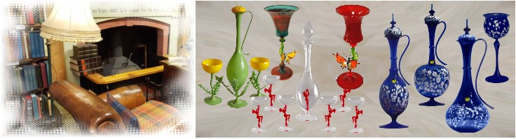 Decorative glass jars and carafes made of glass by glass blower from Lauscha manually crafted glass from Thuringia