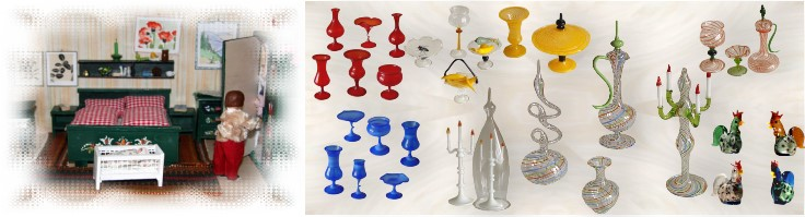 Miniatures made of glass in different colors and shapes by glass blower from Lauscha manually crafted glass from Thuringia