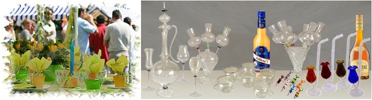 Glass and fun, water dancer, liquor pipes, party glasses by glass blower from Lauscha manually crafted glass from Thuringia