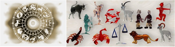 Signs of zodiac made of glass by glass blower from Lauscha manually crafted glass from Thuringia