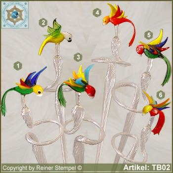Flowers rod, orchids rod, flower holder made of glass with glass bird parrot 6 variants