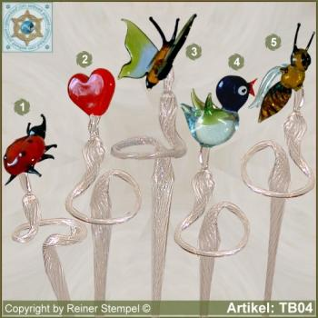 Flowers rod, orchids rod, flower holder made of glass with 5 different glass figurines
