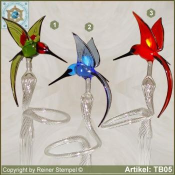 Flowers rod, orchids rod, flower holder made of glass with glass hamming-bird green, blue, red