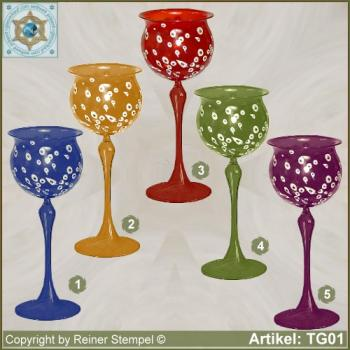 Wine glass with white glass granules as pattern in 5 colors