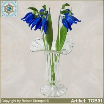 Glass flowers violet bouquet Set 9-pc.