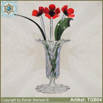 Glass flowers poppies bouquet Set 7-pc. red