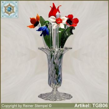Glasblumen Blumen aus Glas Strauss bunter Mix Set 9-tlg.