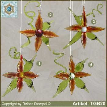 Glass flowers decorative blooms for appending