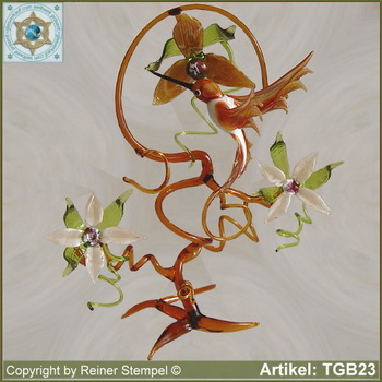 Glass flowers branch with three blooms and hummingbird