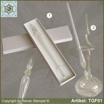 Glass pens, from strip glass, crystal clear white with pearl crystal clear