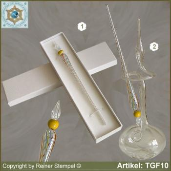 Glass pens, from strip glass, crystal clear colored with pearl yellow