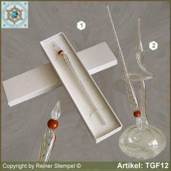 Glass pens, from strip glass, crystal clear colored with pearl red