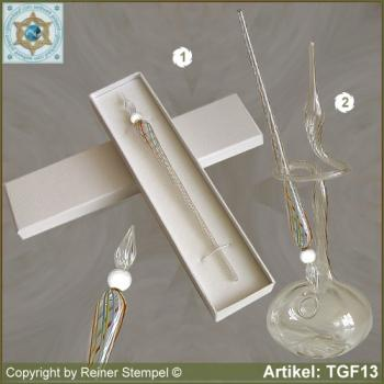 Glass pens, from strip glass, crystal clear colored with pearl white