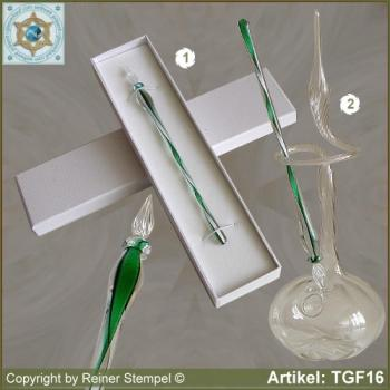 Glass pens from solid glass crystal green white