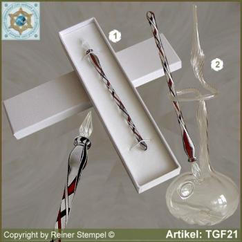 Glass pens from solid glass crystal black red