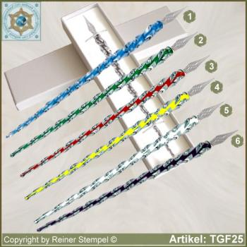 Glass pens from ribbed glass crystal with colored core