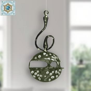 Wind light glass ball colored with white pattern and curved handle for hanging