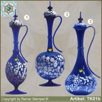 Carafe with lid blue in 3 variants with white glass granules as pattern