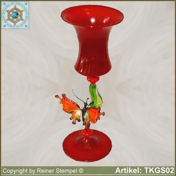 Decorative chalice glass red with butterfly