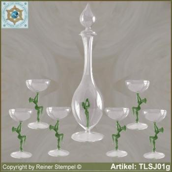 Carafe, liqueur glass in Art Nouveau style with green dancer
