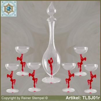 Carafe, liqueur glass in Art Nouveau style with red dancer