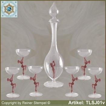 Carafe, liqueur glass in Art Nouveau style with violet dancer