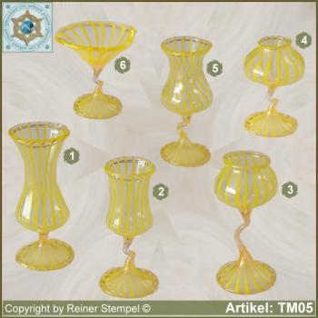 Glass vases, glass bowls miniatures stripe glass yellow