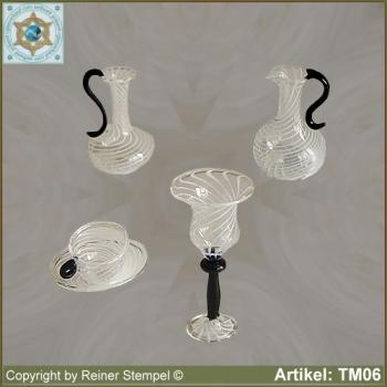 Jar, cup, chalice made of glass miniatures Set 4-pc. stripe glass black and white