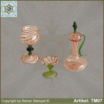 Jar, cup, bowl made of glass, miniatures Set 3-pc. stripe glass red green