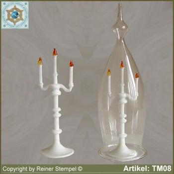 Candleholder miniatures opaque white with dust protection cover