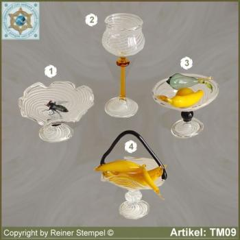 Glass bowls, wine glass, fruit basket, miniatures stripe glass white with fly and fruits