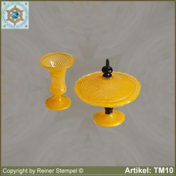 Glass vase, glass bowl with lid, set 2-pc. miniatures stripe glass crystal yellow