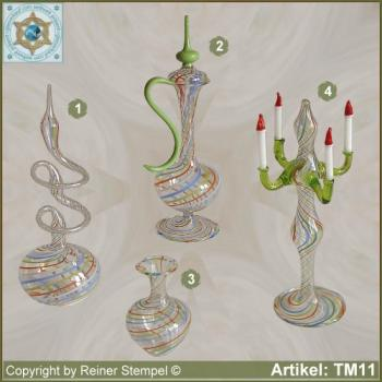 Roses vase, carafe, candle holder, small vase, miniatures, stripe glass colorful