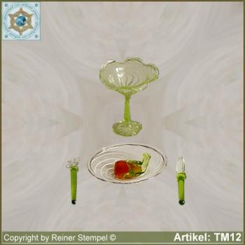 Glass dish with meat and cutlery ice bowl miniatures Set 4-pc.
