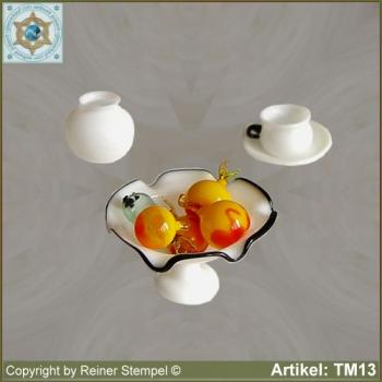 Fruit bowl glass cup sugar bowl miniatures Set 3-pc. opaque white