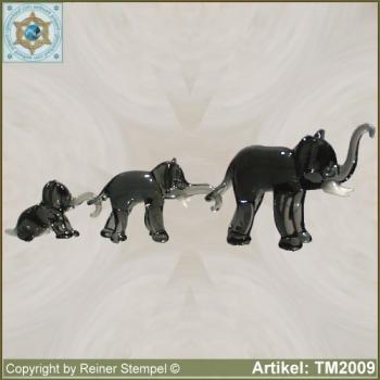 Glass animals glass figurines elephant group set 3-pc.