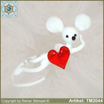 Glass animals glass figurines mouse with heart
