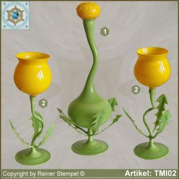 Wine Set 3-pc. carafe and wine glasses in the form of dandelion dialect Mellichstöck