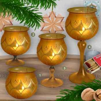 Christmas decoration windlight for Christmas, motif karino gold, in 4 variants series gold magic