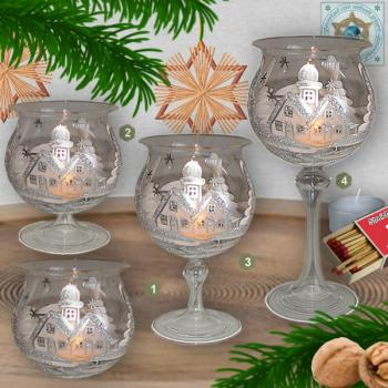 Christmas decoration windlight for Christmas, motif Christmas village white/silver, in 4 variants series frost