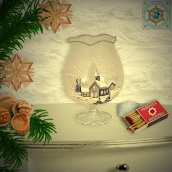 Christmas decoration windlight for Christmas with motif winter village blue series Mountain Christmas