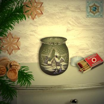 Christmas decoration windlight for Christmas with motif winter village green series Mountain Christmas