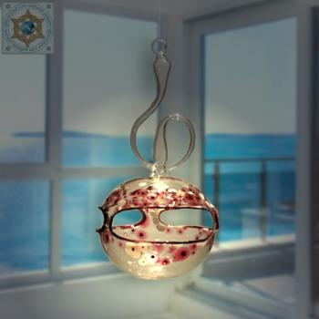 Wind light glass ball crystal clear with color pattern and curved handle for hanging