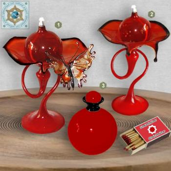 Oil lamps and oil flacon of glass opaque red with black ornaments Set 3-pc.