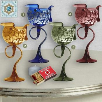 Wind light glass calyx colored, with pattern on curved glass foot