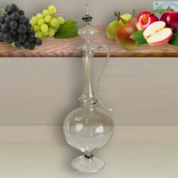 Carafe and shot glass crystal clear with pearl