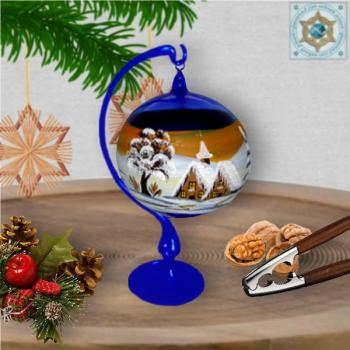 Christmas decoration glass ball on stand violet, blue, amber, green motif village church in winter series Lauscha Christmas