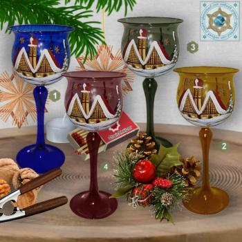 Christmas decoration windlight for Christmas goblet on long stand foot violet, blue, amber, green motif village church in winter series Lauscha Christmas