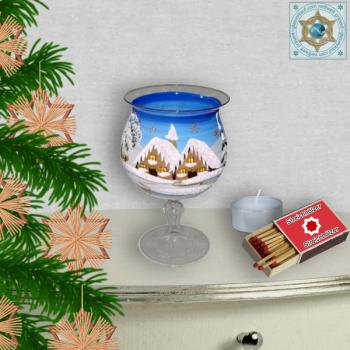 Christmas decoration windlight for Christmas on recently stand foot motif winter village green, blue, or red, series Lauscha Christmas